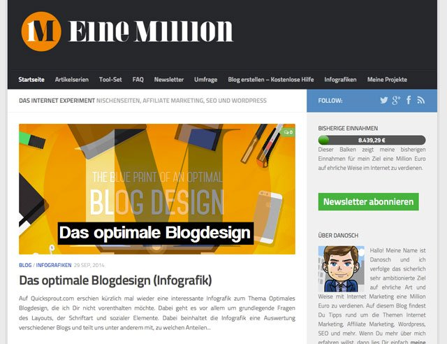 Screenshot: www.eine-million-verdienen.de, Stand: 2.10.14)